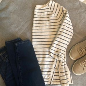 LOFT Outlet Lounge Stripe Tunic Shirt M